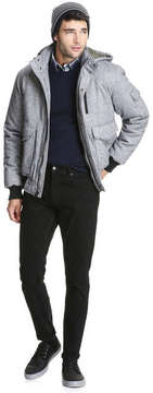 Joe Fresh Men's Baseball Puffer Jacket, Grey (Size L)