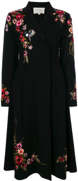 Amen floral embroidered concealed double breasted coat