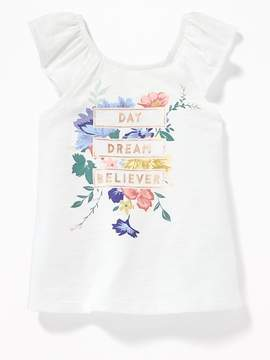 Old Navy Graphic Ruffle-Sleeve Top for Toddler Girls