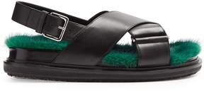 MARNI Fur-insole leather sandals