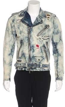 Amiri Embellished Destroyed Moto Jacket