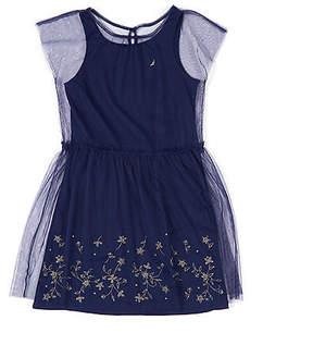 Nautica Girls' Embroidered Mesh Overlay Tank Dress (8-16)