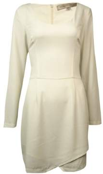 GUESS Elements Women's Long Sleeve Wrap Skirt Dress (8, White)