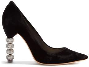 Sophia Webster Coco crystal embellished-heel velvet pumps