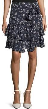 Cinq à Sept Carson Floral-Print Silk Flounce Skirt