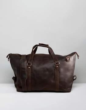 Lyle & Scott Leather Carryall in Dark Brown