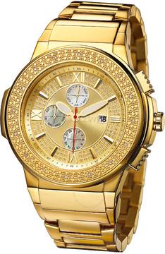 JBW Saxon Gold Sunray Crystal Dial Gold-tone Stainless Steel Diamond Bezel Men's Watch