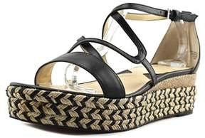 Adrienne Vittadini Louie Open Toe Leather Wedge Sandal.
