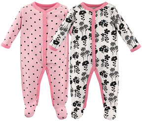 Luvable Friends Pink Flowers & Dots Sleep & Play Two-Piece Footie Set - Newborn & Infant