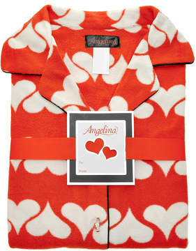 Angelina Orange Hearts Fleece Pajama Set - Women