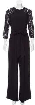 Tahari Embroidered Long Sleeve Jumpsuit