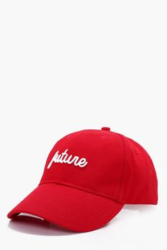 boohoo Red Future Embroidered Cap