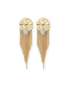 Alexis Bittar Rocky Medallion Chain Fringe Earrings