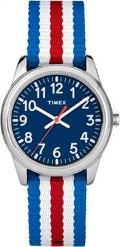 Timex Boys' Time Machines Analog Metal Watch, Red/White/Blue Striped Elastic Fabric Strap