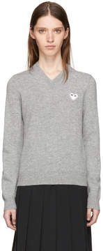 Comme des Garcons Grey and White Heart Patch V-Neck Sweater