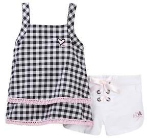 Betsey Johnson Gingham Lace Trim Tank Top & Short Set (Little Girls)