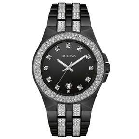 Bulova Crystal Collection 98B251 Black Analog Quartz Men's Watch