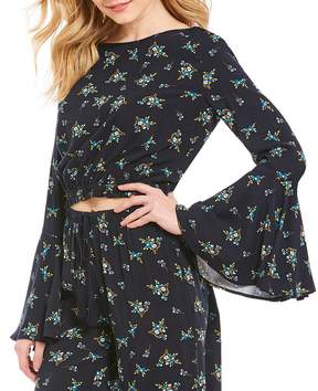 Chelsea & Violet Printed Bell Sleeve Woven Coordinating Peasant Blouse