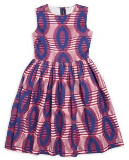 Oscar de la Renta Girl's Printed Sleeveless Cotton Dress