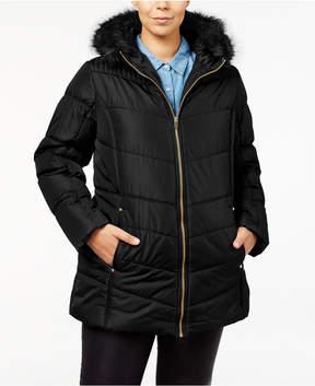 Celebrity Pink Trendy Plus Size Faux-Fur-Trim Puffer Coat