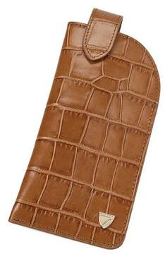 Aspinal of London Slimline Glasses Case In Deep Shine Vintage Tan Croc Cappuccino Suede