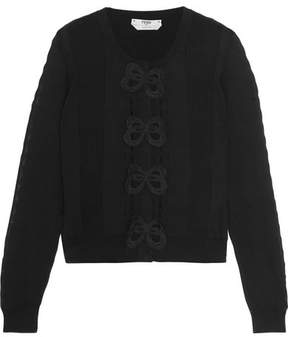 Fendi Appliquéd Cotton Cardigan - Black