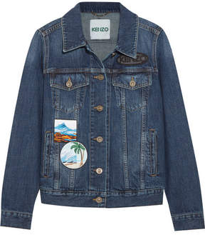 Kenzo Appliquéd Denim Jacket - Mid denim