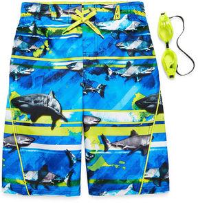 ZeroXposur Zero Xposur Boys Frenzied Shark Stripes Swim Trunks-Big Kid