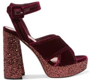 Miu Miu Glittered Velvet Platform Sandals - Burgundy