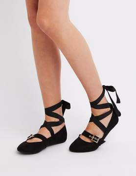 Charlotte Russe Buckled Lace-Up Ballet Flats