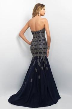 Blush Lingerie Embellished Sweetheart Satin Mermaid Dress 11130