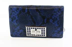 Michael Kors Electric Blue Python Embossed Ellie Medium Flap Shoulder Bag - BLUES - STYLE