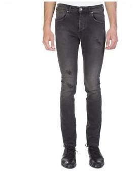Pierre Balmain Men's Distressed Denim Jeans Pants Black.