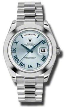 Rolex Day-Date II Ice Blue Dial Platinum President Automatic Men's Watch