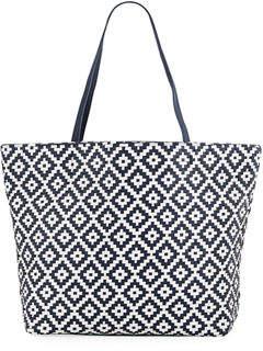 Neiman Marcus Diamond-Woven Shoulder Tote Bag