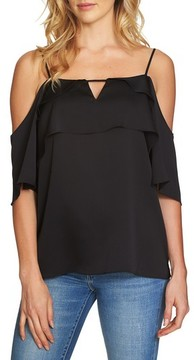 1 STATE Women's 1.state Tiered Cold Shoulder Top