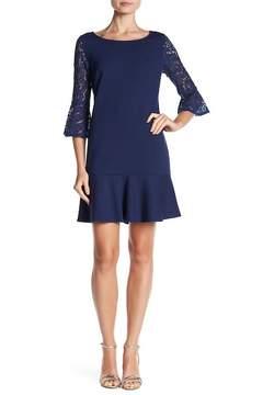 Laundry by Shelli Segal Lace Sleeve Knit Dress