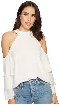1 STATE 1.STATE Mock Neck Cold Shoulder Blouse w/ Tiers Women's Blouse