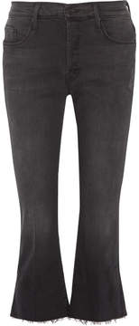 Mother The Nomad Cropped Mid-rise Flared Jeans - Black