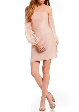 Keepsake Call Me Pearl Embellished Off-the-Shoulder Mini Dress