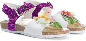 MonnaLisa Flower Detail and Glitter Sandals