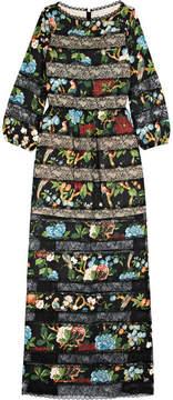 Alice + Olivia Alice Olivia - Desma Lace-paneled Printed Satin Maxi Dress - Black