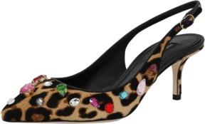 DOLCE & GABBANA Leopard Print Jeweled Slingback