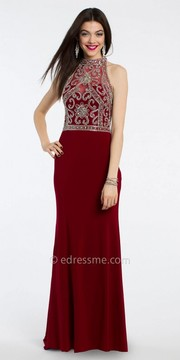 Camille La Vie Floral Beaded Prom Dress