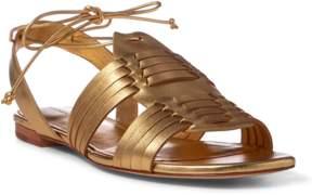 Polo Ralph Lauren | Jaida Metallic Leather Sandal | 11 us | Gold