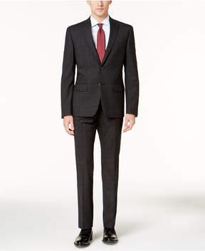 DKNY Men's Slim-Fit Charcoal Plaid Wool Suit