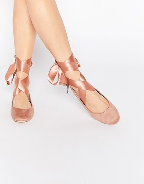 Glamorous Nude Suedette Ribbon Tie Ballet Shoes