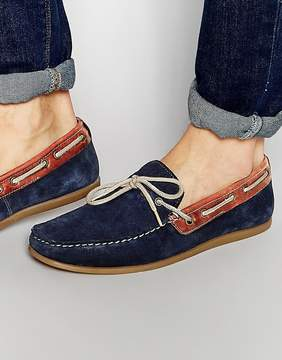 Red Tape Driving Loafers In Blue Suede