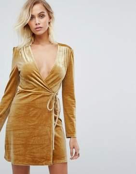 Fashion Union Wrap Dress In Golden Velvet