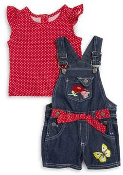 Nannette Baby Girl's Two-Piece Printed Cotton Top And Denim Shortall Set